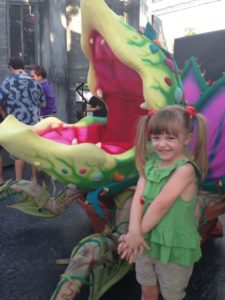 Penelope with the Audrey II at Little Shop of Horrors 2013